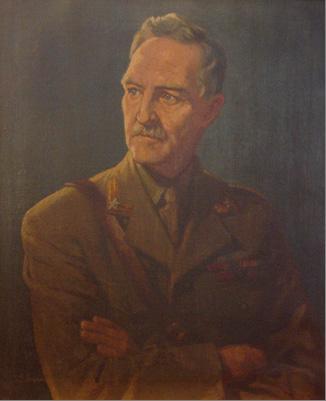 Portrettet er malt av mrs. Joyce Doyle i London 1944, som gave til Oslo Militære Samfund fra general Fleischers norske offiserskamerater i Storbritannia